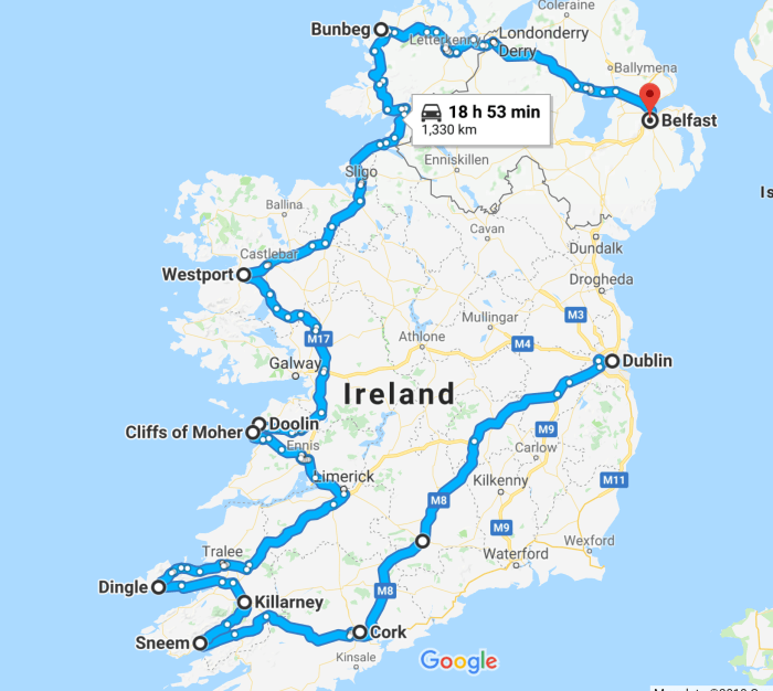 Map Of Ireland Showing Athlone.The Perfect Ireland Road Trip Itinerary You Should Steal Follow Me