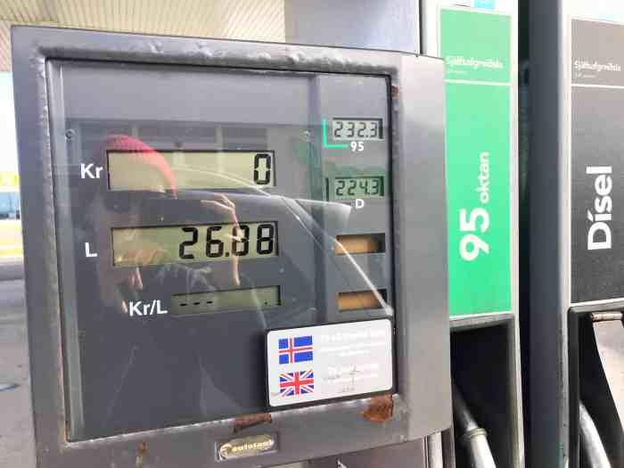 Iceland gas station pump