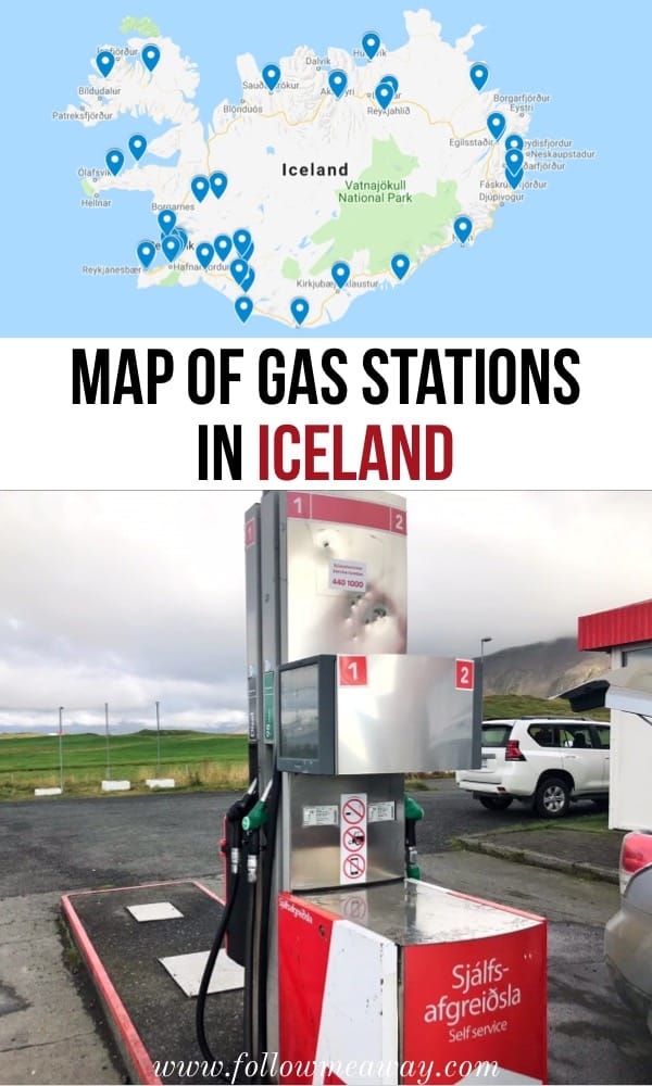 Map of the gas stations in Iceland | how to find gas stations in iceland | getting gas in iceland | cost of gas in iceland | iceland travel tips | iceland on a budget