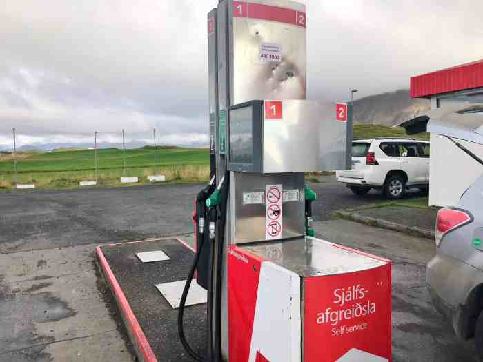 you will need cash currency in Iceland for getting gas in Iceland   cash money in Iceland is necessary for gas if you don't have a pin card