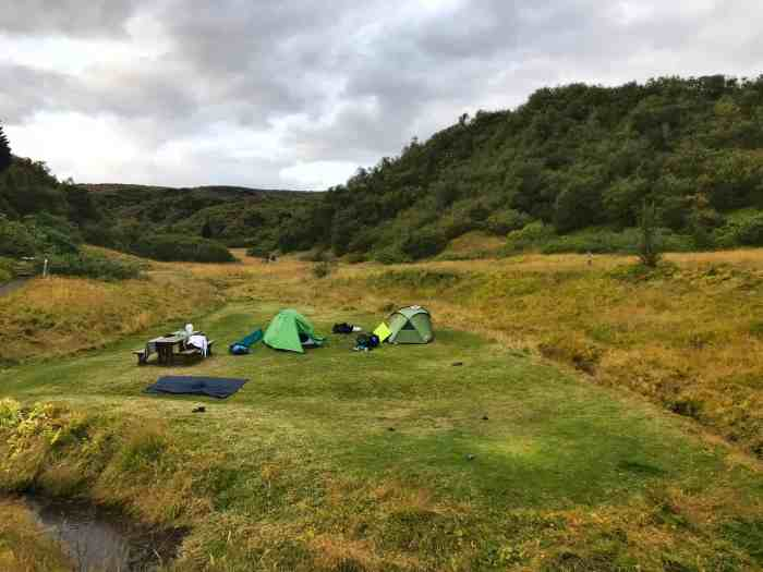 Icleand camping in Thorsmork in the Icelandic highlands