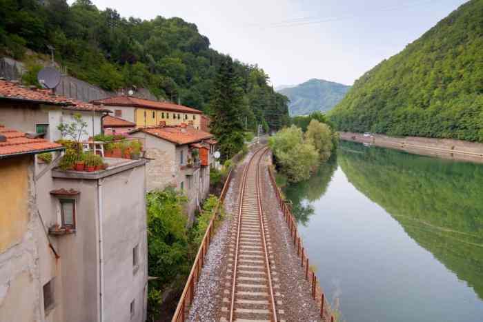 train tracks through Tuscany Italy