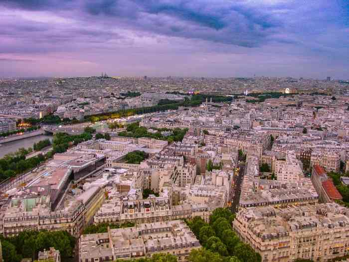 Paris sunset view from on top of the eiffel tower