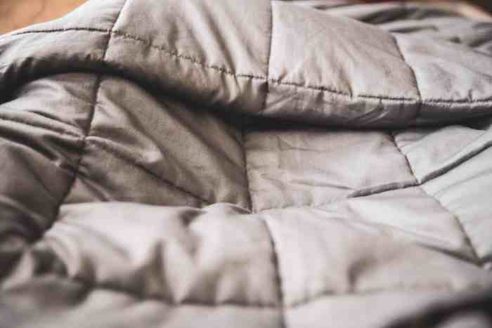 close up view on a weighted blanket for adults