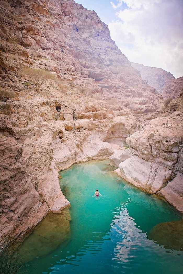 Swimming in Wadi Shab Oman