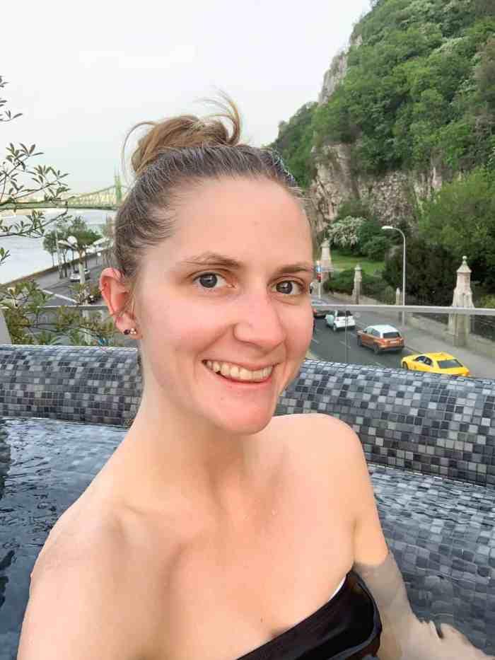 Selfie with Gellert Hill in Budapest