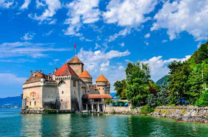 castles in Europe are often situated on important waterways like Chillon Castle