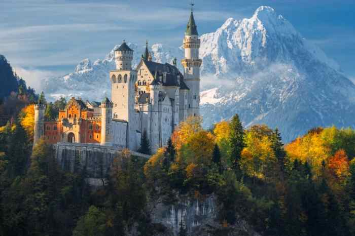 One of the most famous castles in Germany, Neuschwanstein Castle has epic mounts as a backdrop and trees around it