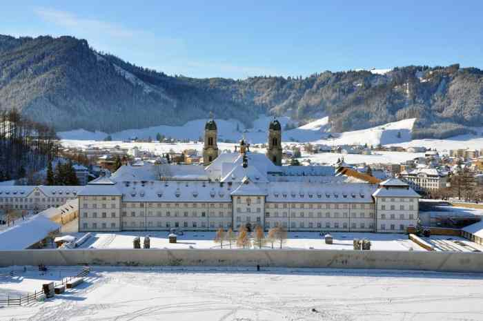 The Einsiedeln monastery is the backdrop of one of the most unique Christmas markets in Switzerland