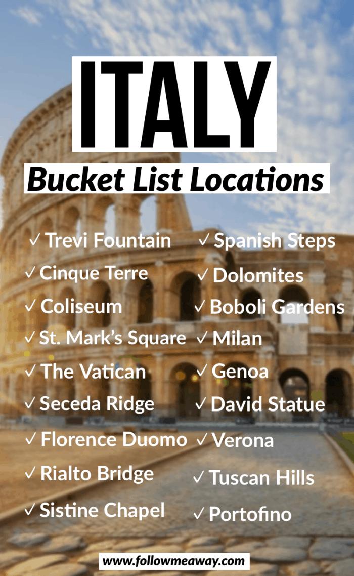 italy bucket list location road trip