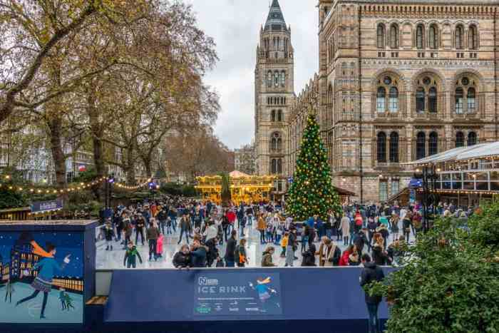 London in winter, an open-air ice skating rink at Christmastime