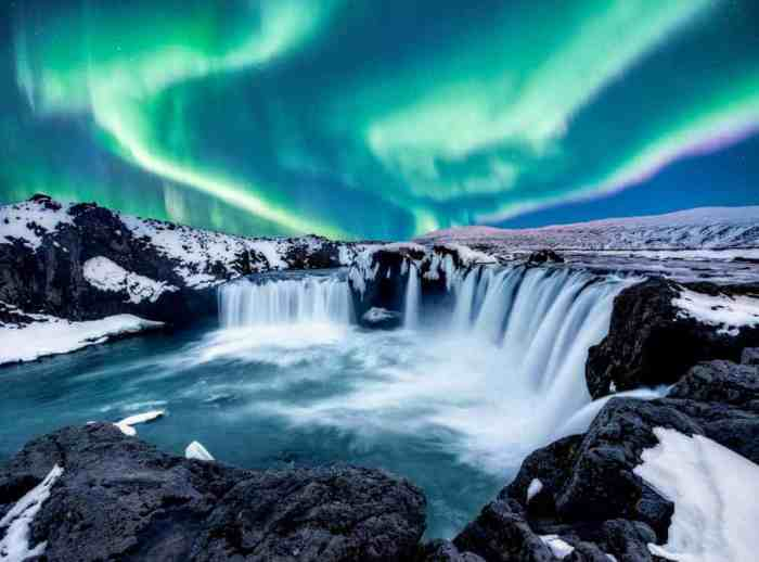 Northern Lights over Goðafoss in Iceland in December