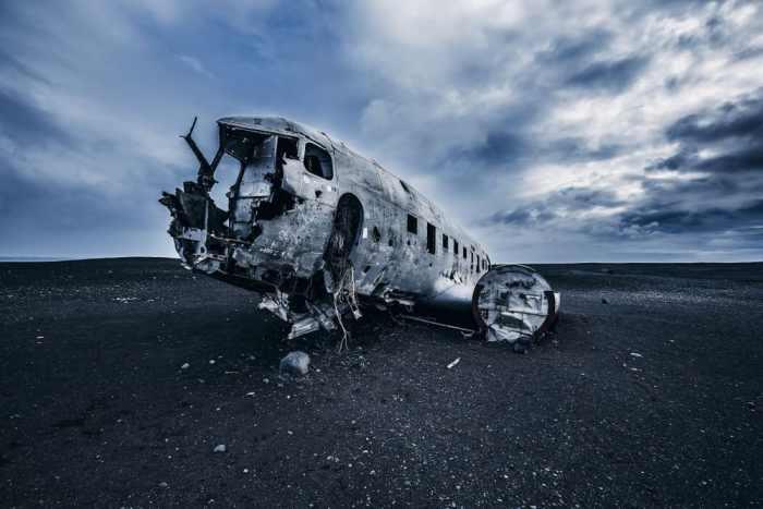 Solheimasandur plane crash on black sand beach in South Iceland