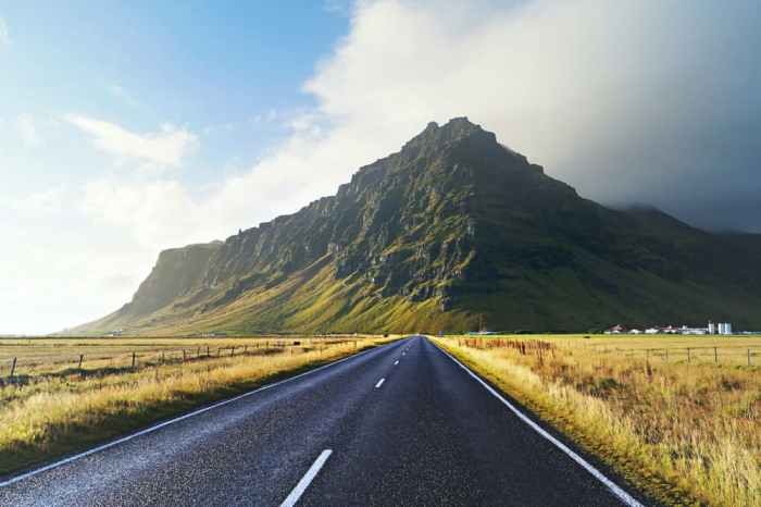 road in iceland with green hills