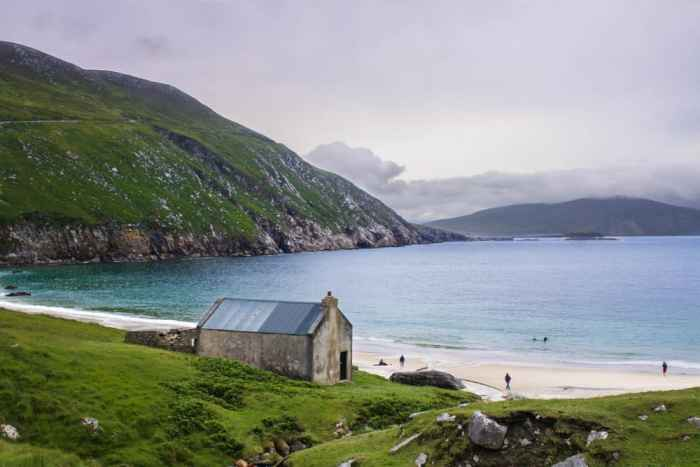beaches in Ireland Keem by and church