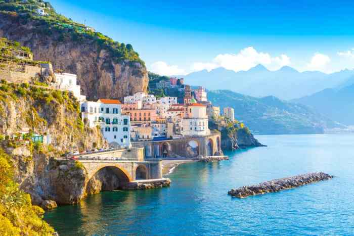 A lovely view of the town and coast of Amalfi, a wonderful choice of where to stay on the Amalfi Coast