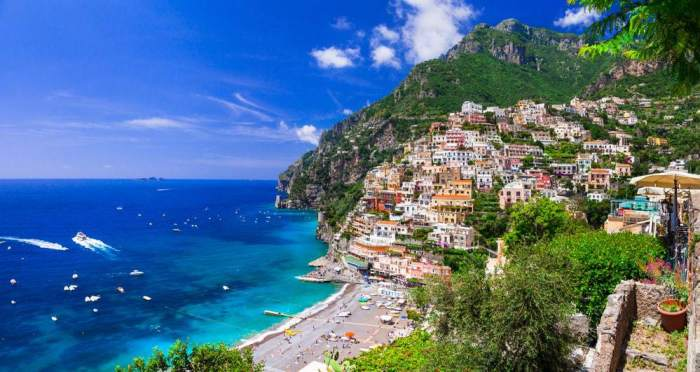 A beautiful view of Positano Beach a great choice when looking for where to stay on the Amalfi Coast.