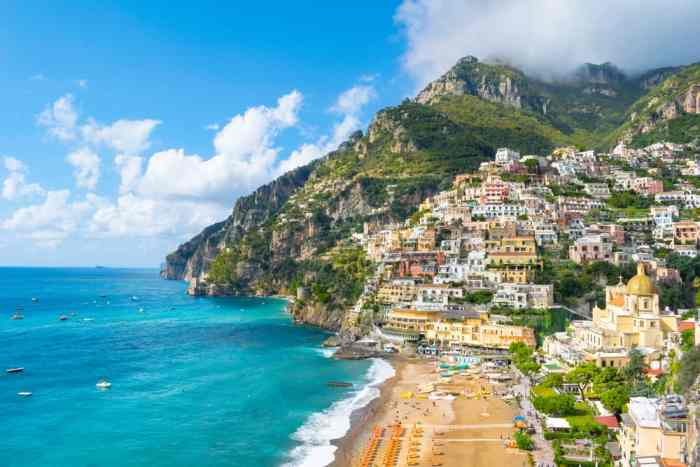 The hilly, beachside town of Positano, an amazing choice of where to stay on the Amalfi Coast