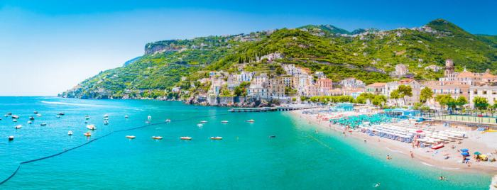 Panoramic view of the Salerno Coast, a great choice of where to stay on the Amalfi Coast.