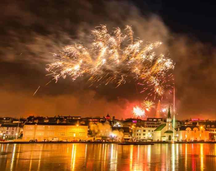 fireworks over Reykjavik in Iceland in January