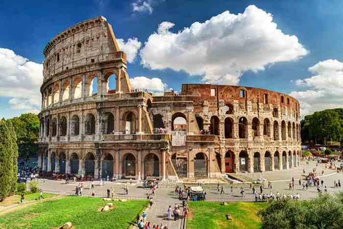 The colosseum is an iconic monument in Rome, known for the Roman times of gladiator games.