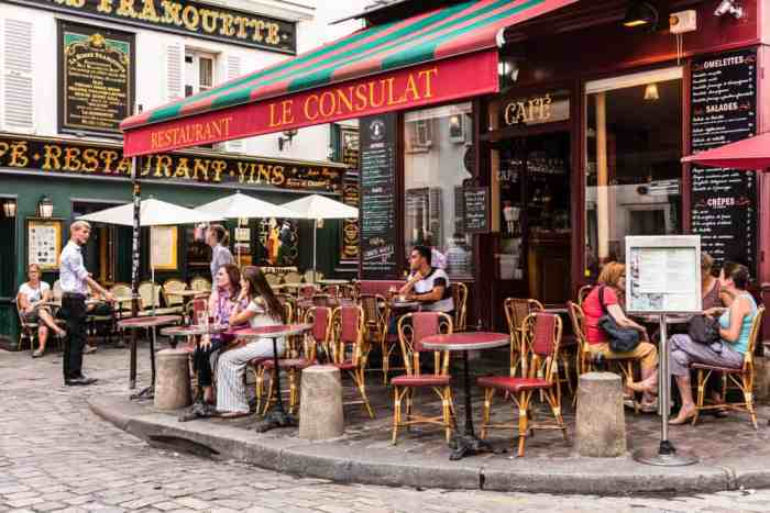 Le Consulat is a popular cafe with an easygoing atmosphere