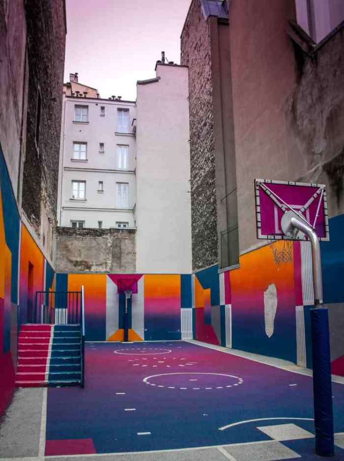 The Pigalle Basketball Court consists of beautiful colors