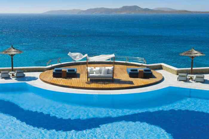 Photo of pool and sea at Mykonos Grand Hotel & Resort, a great Greece honeymoon location.