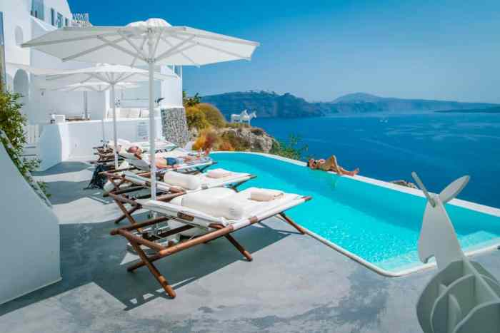Photo of poolside view that you could experience during your Greece honeymoon.