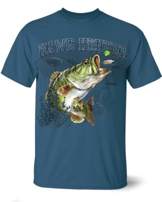 "Follow the Action- Largemouth Bass ""Hawg Hunter"" One-Sided T-Shirt"
