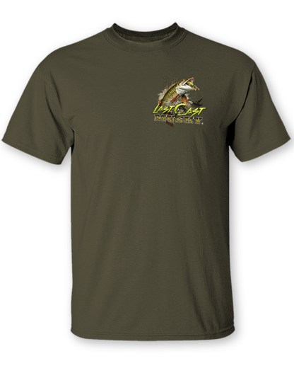 "Follow the Action - Musky ""Last Cast"" Two-Sided T-Shirt- Front"