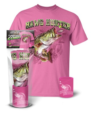 "Follow the Action - Largemouth Bass ""Hawg Hunter"" Pink T-Shirt and Koozie® Combo Gift Set"