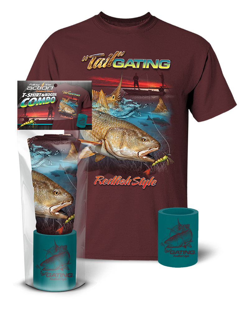 Redfish tail gating t shirt and koozie combo gift set for Shirts and apparel koozie