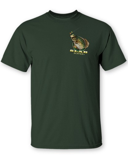 """Follow the Action - Crappie """"Slab Slayer"""" Tow-Sided T-Shirt- Front"""
