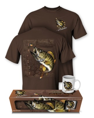Follow the Action - Walleye Hunter T-Shirt and Mug Premium Gift Set