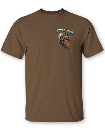 Follow the Action - Waterfowl (Duck) Two-Sided T-Shirt - Front