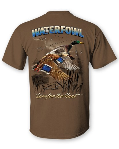 Follow the Action - Waterfowl (Duck) Two-Sided T-Shirt- Back