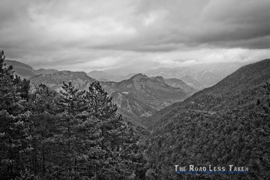black and white photo of the Pyrenees