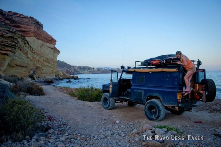 land rover driving Mediterranean