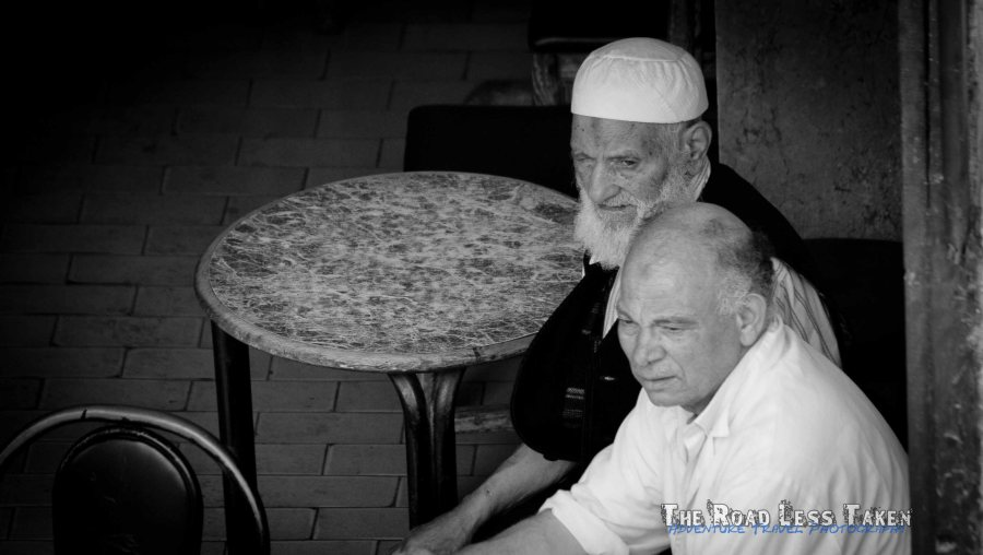 Moroccan men in a cafe