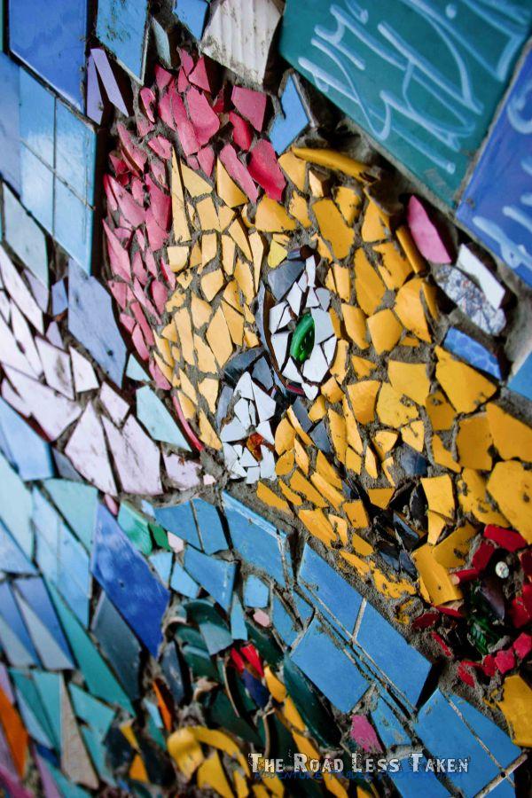 Mosaic on the walls of the metelkova commune, Slovenia