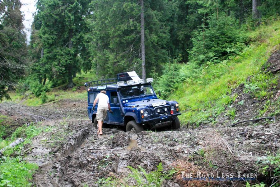 Landrover Defender stuck in the mud, Romania