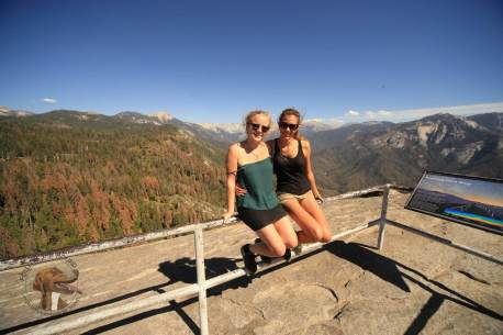 Dee and Nancy enjoying the views atop Moro Rock in Sequoia National Park