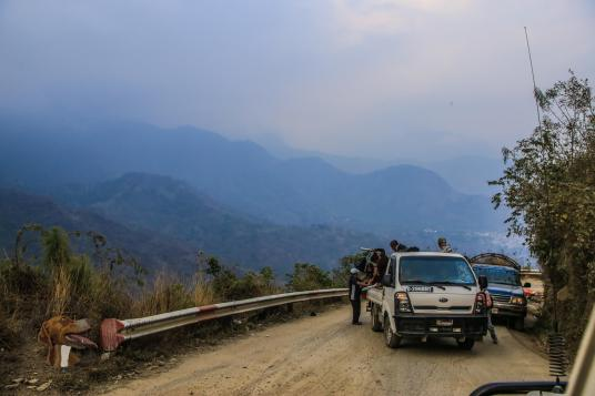 Traffic jam, Guatemala style.