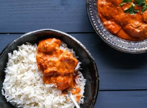 Butter chicken with spiced jasmine rice.