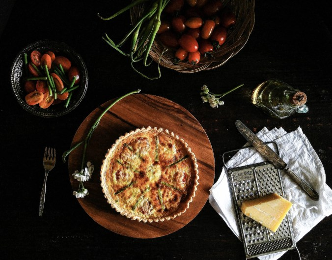 Tomato, Cheese and Garlic Scapes Summer Tart