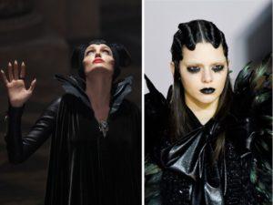 Maleficent: un dettaglio della sfilata autunno inverno 2016 di Marc Jacobs e Angelina Jolie nel film di Robert Stromberg. Trucco dark, tessuto nero lucido e piume intorno al collo.
