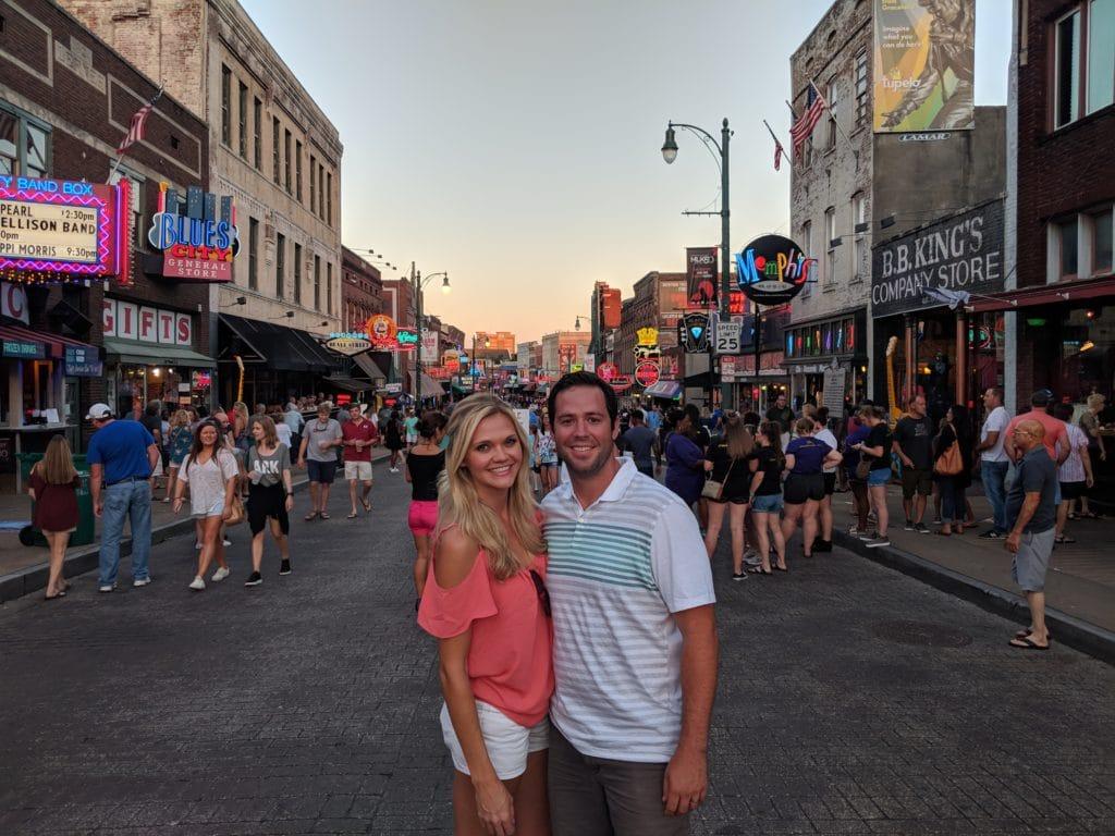 Dan and Lindsay on Beale street in Memphis, TN