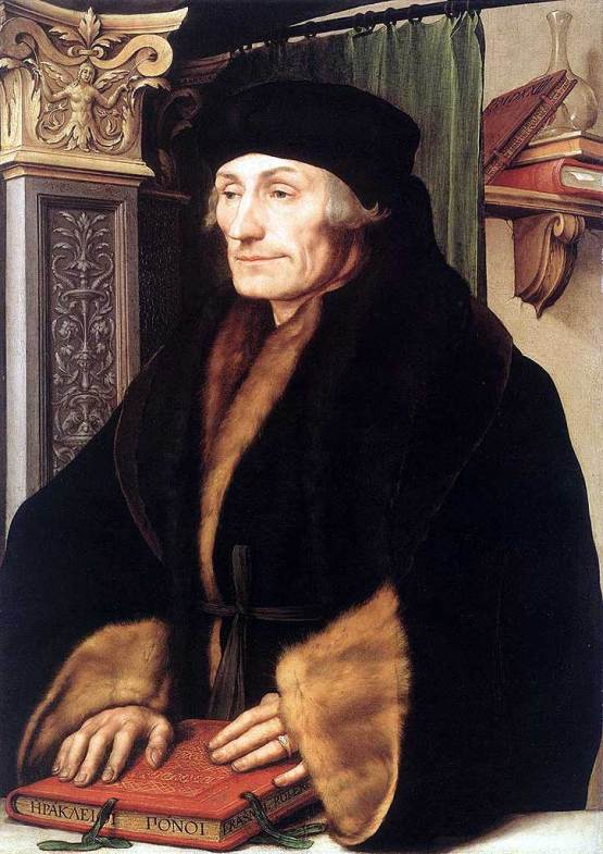 Portrait of Erasmus of Rotterdam, prob. 1523, by Hans Holbein the Younger. oil and tempera on panel. National Gallery, London.
