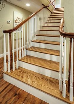 Hardwood Stair Treads Folsom Stair Woodworks   Hardwood Floor Stair Treads   Dark Oak   Hickory   Vinyl   Red Oak   Pergo Floor
